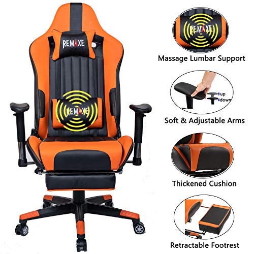 Computer Gaming Chair, Height Adjustable Swivel PC Chair with Retractable Footrest Headrest and Lumbar Massager Cushion Support Leather Reclining Executive Office Chair (Black/Orange) chair gaming orange