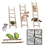 Birdcage Budgie Wooden Climbing Perch Ladder Toys with Five/Six/Eight Rugs for Budgie Parrots Bird Canary Caged Bird Perch Climbing Toys Pets Heath Sport Supplies Pack of 3 (3 Sizes)