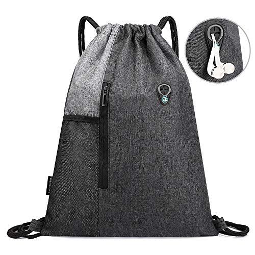 SeBeLi Turnbeutel Rucksack mit Kopfhörerloch Sport für Damen Herren mit Reißverschluss und Netztaschen Travel Beach Hiking, 43x33cm (Grun)
