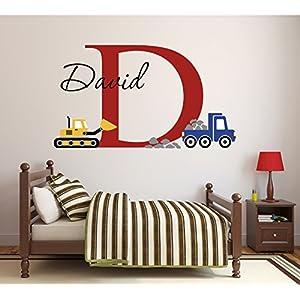 Lovely Decals World LLC Custom Construction Truck Name Wall Decal for Boys Nursery Baby Room Art Decor Vinyl Sticker (34″ W x 22″ H)