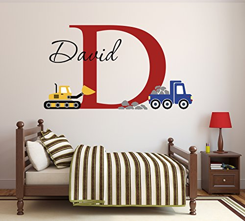 Lovely Decals World LLC Custom Construction Truck Name Wall Decal for Boys Nursery Baby Room Art Decor Vinyl Sticker (34' W x 22' H)