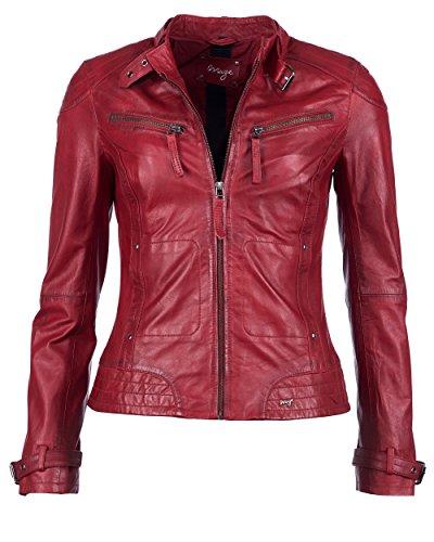 Maze Damen Lederjacke Mit Zwei Brusttaschen Ryana Red M