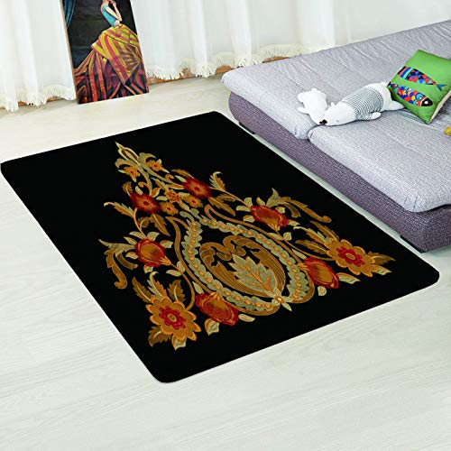 MMHJS European Style Simple Flowers And Leaves 3D Mat Anti-Slip Padded Desk Sofa Carpet Bedroom Hotel Living Room Homestay Party Carpet
