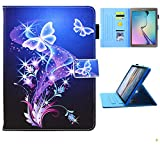 Galaxy Tab E 9.6 Case Old Model, SM-T560 Case, JZCreater Folio Stand Case, Multi-Angle Viewing Wallet Case Cover for SM-T560/T561/T565, Purple Butterfly