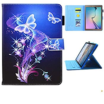 Galaxy Tab E 9.6 Case Old Model SM-T560 Case JZCreater Folio Stand Case Multi-Angle Viewing Wallet Case Cover for SM-T560/T561/T565 Purple Butterfly