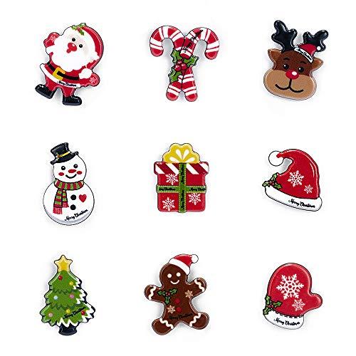 12pcs Christmas Brooch Pin Set Christmas Tree Snowman Santa Jingle Bells Badge Clasp Brooch Pins Gift for Women Girl (9pcs)