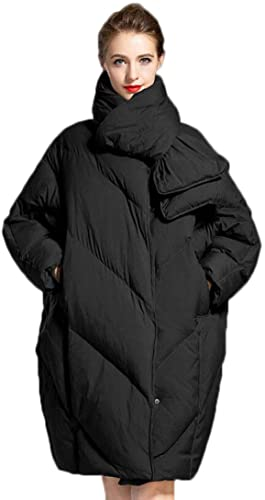 QKDSA Veste en Duvet Longue Section Femme épaisse Hiver Chaud Manteau en Duvet (Couleur   Noir, Taille   XL)