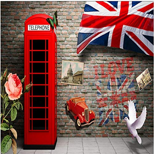 Mrlwy papel tapiz Estéreo 3D Europa Estados Unidos retro cabina telefónica roja pared de ladrillo vestíbulo mural papel tapiz personalizado-350X250CM