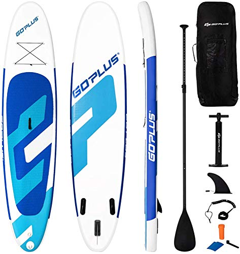 Goplus Inflatable Stand Up Paddle Board, 10ft/11ft SUP with Accessory Pack, Adjustable Paddle, Carry Bag, Bottom Fin, Hand Pump, Leash and Repair Kit