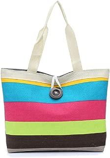 Crossbody Shoulder Bag,AfterSo Lady Colored stripes Shopping Handbag Shoulder Canvas Bag Tote Purse KH