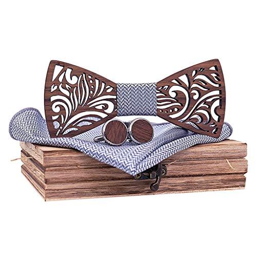 QHJ Noeud Papillon Bois Sculpté Fait Main pour Mariages Cérémonies Le Coup de peps à Votre Tenue Plusieurs modèles et Coloris Disponibles Convient à Toutes Les Occasions (Gray)