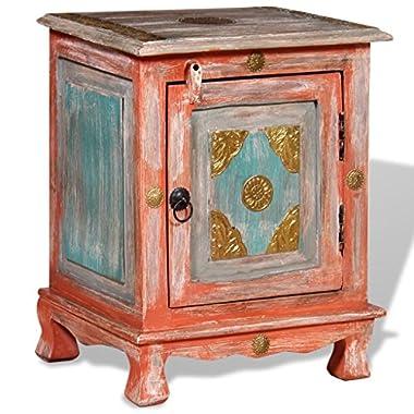 Handmade Indian Style Solid Mango Wood Nightstand Bedside Cabinet, Orange