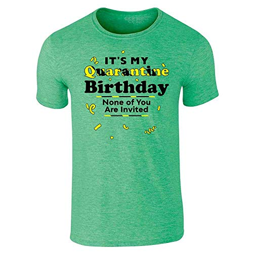 Its My Quarantine Birthday No Ones Invited Funny Heather Irish Green XL Graphic Tee T-Shirt for Men