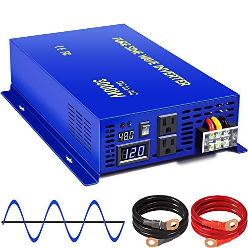 XYZ INVT 3000W Pure Sine Wave Power Inverter 48V DC to AC 120V 110V Surge Power 6000w, Power Converter for Solar System, Off Grid Power System. (3000W 48V)