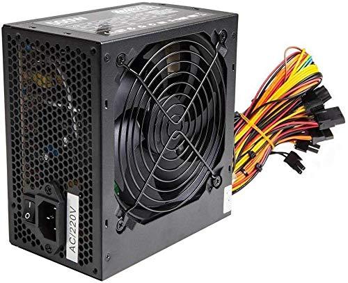 Black 700W ATX PC Alimentatore PSU con ventola silenziosa 120 mm e PCI-E 6+2-Pin / 6 x SATA / 24-PIN / 8-PIN 12V / 3 x MOLEX / 1 x Floppy