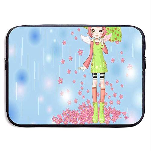 Waterdichte Laptop Sleeve Pocket Case De Meisjes Paraplu Onder De Petal Regenhoes voor Alle Computer Notebook 15 Inch