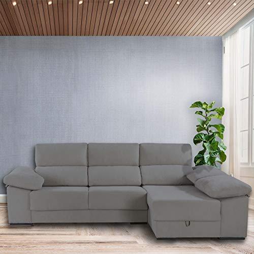 Dreaming Kamahaus Sofa Troya 3 plazas + Chaise Longue Izquierda| Asientos deslizantes y reposacabezas reclinables | Incluye 2 pufs en el Brazo| Tejido SemiNido 2/Antracita| Envío y Montaje Incluido