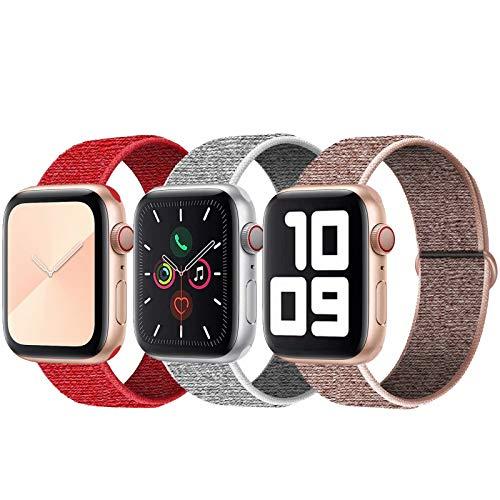 SSEIHI Correa de Apple Watch 38mm 40mm,Soft Sport Strap Reemplazo de Correa de Repuesto de Nylon Transpirable Ligero para la iWatch Serie 5/4/3/2/1,Sport+, Edition,Pink/Seeshell/Red
