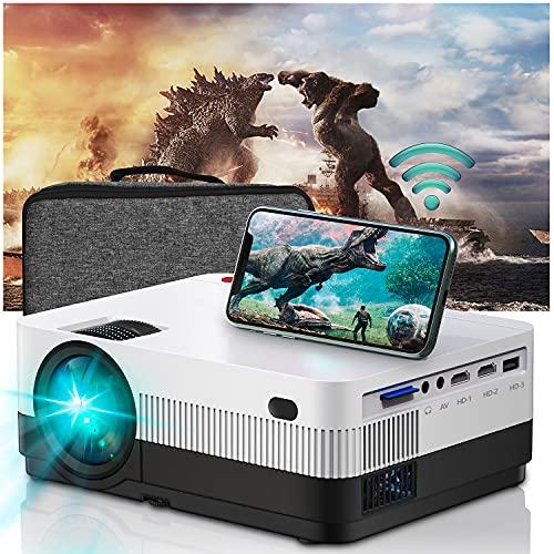 WiFi Beamer Full HD, Home Cinema Heimkino 6500 Lumen ,Mini Beamer Support 1080P Kompatibel mit USB/HDMI/SD/AV/TV Stick/VGA[2021 Latest Upgrade]