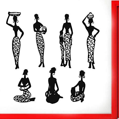 WERWN Mujer Africana Pared calcomanía Puerta Ventana Vinilo Pegatina salón de Belleza Estilo Africano niña Africana Dormitorio Sala de Estar decoración del hogar