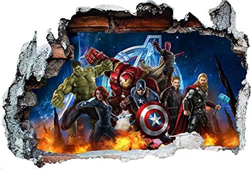 DT póster Marvel etiqueta de la pared 3D Avengers Mural vinilo póster habitación de los niños Mural póster adhesivo 100x60 cm