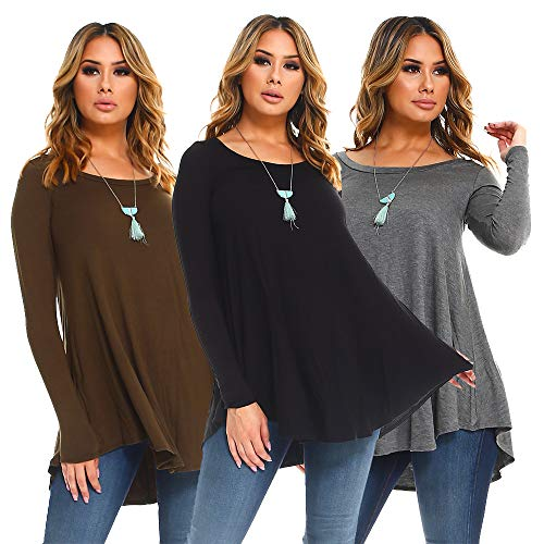 Isaac Liev Women's 3-Pack Long Sleeve Flowy Tunics (X-Large, Black, Olive & Charcoal)