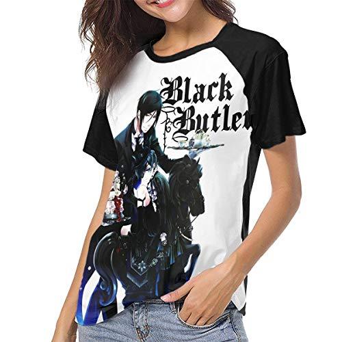 BILLYHERBERT Black Butler Ciel Sebastian Sebastian Anime Women's Short Sleeve T-Shirts Raglan Shirt Women Tees Tunic Tops Womens T-Shirt Girl Basic Tee Shirts Girls Soft Casual Tee Active Shirts XXL