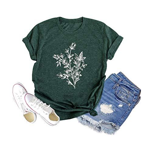 Women Botanical Tshirt Plant Graphic Wild Flower Shirt Vintage Floral Clothing Tee (Green, M)
