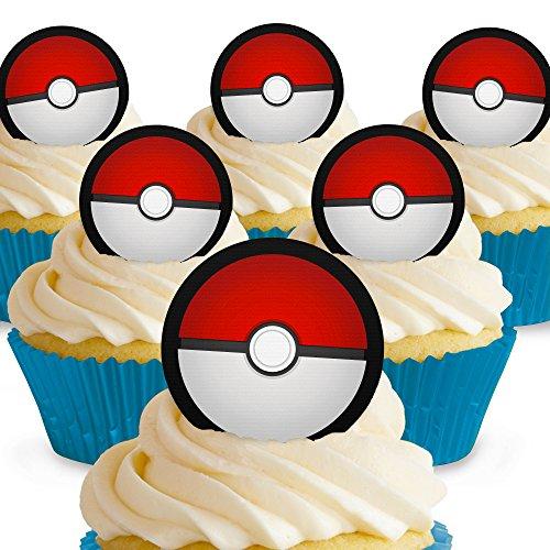 12 x Vorgeschnittene und Essbare Pokemon Pokeballs Kuchen Topper (Tortenaufleger, Bedruckte Oblaten, Oblatenaufleger)