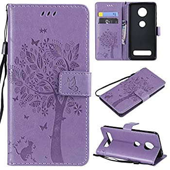Lacass Cat Tree Pattern PU Leather Flip Wallet Case Cover Kickstand with Card Slots and Wrist Strap for Motorola Moto Z4 / Moto Z4 Play Case  Light Purple