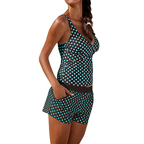 Lazzboy Frauen Tankini Badeanzug Bikini Beachwear Bademode Gepolstert Push Up Plus Damen übergröße Punktdruck Sets Gepolsterte(Dunkelgrün,S)