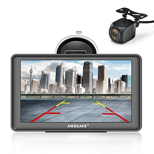 AWESAFE Bluetooth Navigation mit Rückfahrkamera für Auto LKW 7 Zoll Navigationsgeräte, 2020 Europa Karten Lebenslang Kostenloses Kartenupdate