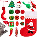 Whaline 17pcs Christmas Cat Toys Stocking Cat Stick 7 Cat Playing Balls Roller Bell 2 Mice Plush Snowman Plush Pepper Plush Christmas Tree Xmas Candy Pompoms Training Supplies for Pet