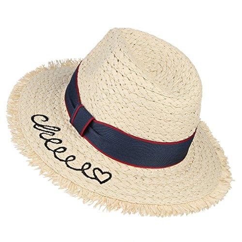 DEMU strohoed kinderen zomer Fedora strand breedte rand zonnehoed UV-bescherming Safari hoed