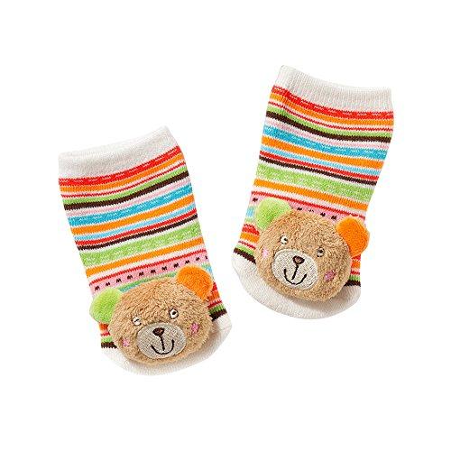 Fehn 091519 Rasselsöckchen Teddy / Activity-Babysöckchen mit niedlichen Tier-Köpfchen zum Greifen, Rasseln, Strampeln & Geräusche erzeugen, Lernspielzeug für Babys von 0-12 Monaten