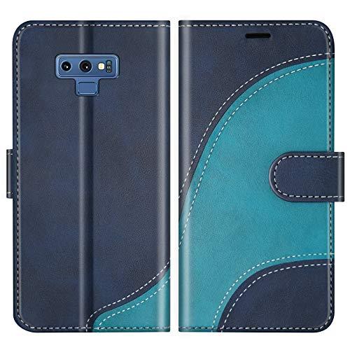 BoxTii Hülle für Galaxy Note 9, Leder Handyhülle für Samsung Galaxy Note 9, Ledertasche Klapphülle Schutzhülle mit Kartenfächer & Magnetverschluss, Blau