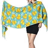 KenFandy Moda mujer chal largo patrón de pato de goma mujeres estampado borla chales bufanda pañuelo mascarilla