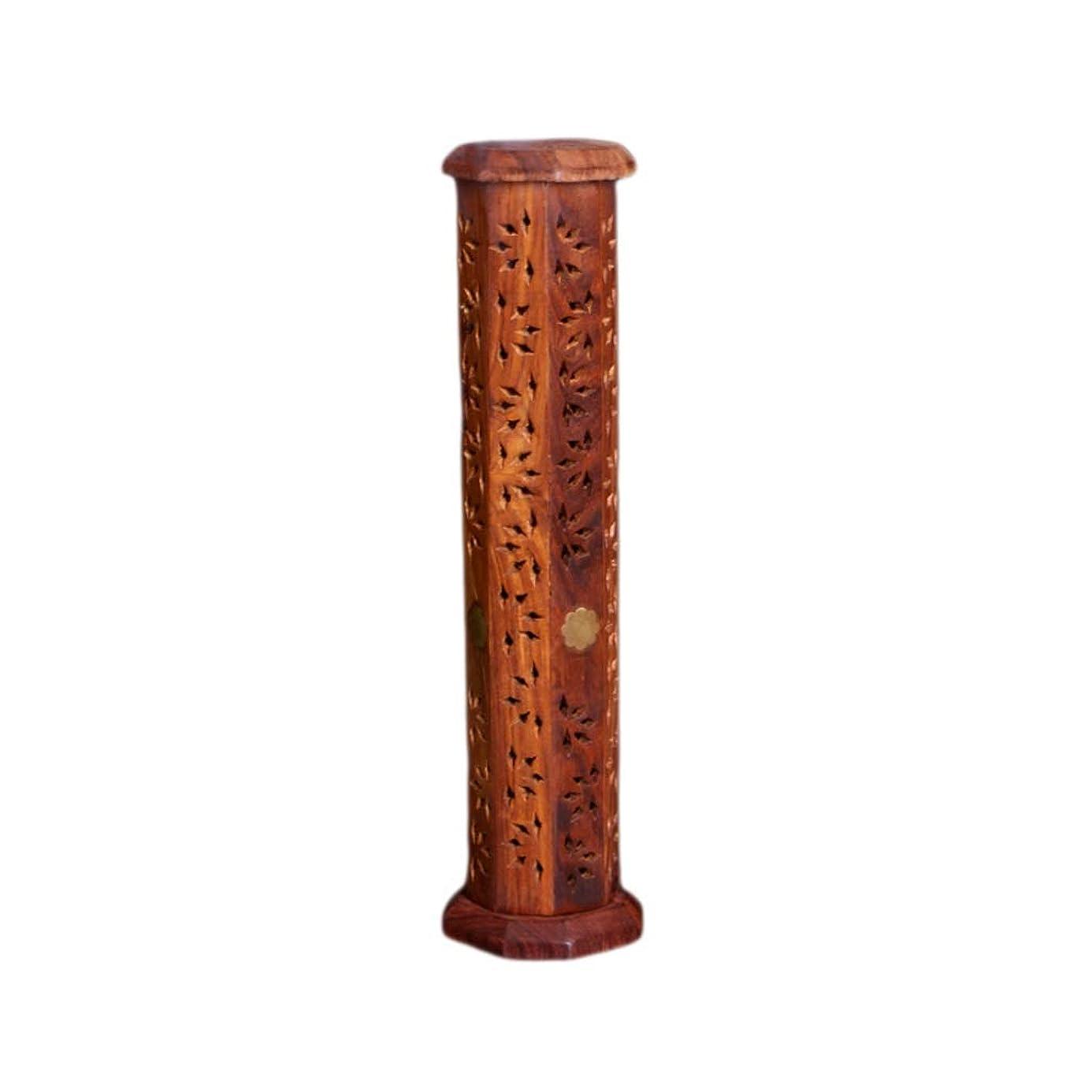 器用帆ショートウッドタワー香バーナー透かし彫り仏香スティックコーンバーナーホルダーホームフレグランス装飾香ホルダー (Color : Brown, サイズ : 2.95*12inchs)