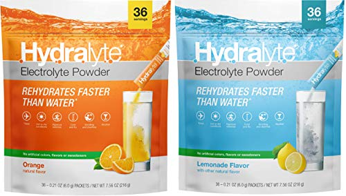 Hydralyte Electrolyte Hydration Powder Packets, All Natural Instant Dissolve ORS Drink Mix, Orange, Lemonade, 72 Servings