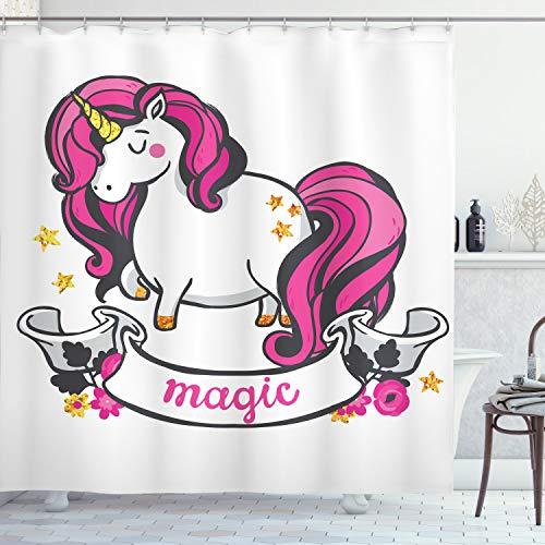 ABAKUHAUS Einhorn Duschvorhang, Einhorn mit Rosa Haaren, Digital auf Stoff Bedruckt inkl.12 Haken Farbfest Wasser Bakterie Resistent, 175 x 200 cm, Pink Weiß