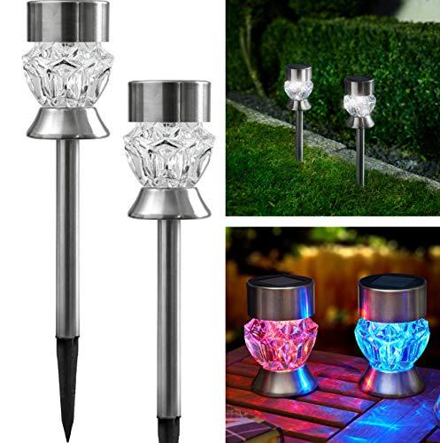 Bonetti - Solarlampen für Außen aus Edelstahl mit Glas im Diamanten-Look, kalt-weiße LED/bunt, kabellos und wetterfest, dekorative Solarleuchte für den Garten, Terrasse und Balkon (2)