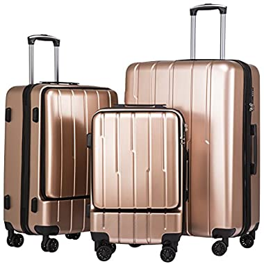 Coolife Luggage Expandable Suitcase 3 Piece Set ABS+PC TSA Lock with Computer Pocket (Champagne new)
