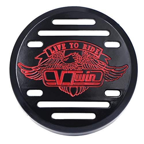 Black Eagle head horn cover For 1992 and up Harley-Davidson with side mount cowbell and all V-rods With Red LED Light