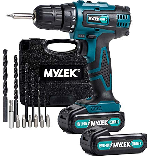 MYLEK 18V Cordless Li-ion Drill Driver and Spare Battery (MYLEK 18v Drill c/w Spare Battery)