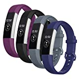Welltin Bands Compatible with Fitbit Alta/Alta HR for Women and Men(4 Pack), Classic Soft Silicone Sport Strap...