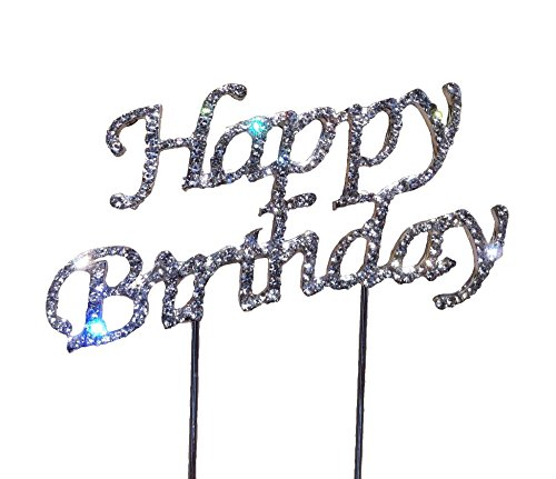 Tortenaufsatz Happy Birthday Geburtstag Kuchen Aufsatz Topper echte Strassteine Kuchen Aufsatz Tortendeko Geburtstag Hochzeit Jubiläum Cake Topper Glitzernd Tortenverzierung Dekoration Tortenstecker