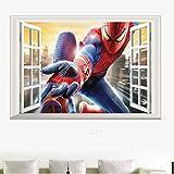 Sticker Mural, 3D Incroyable Spiderman Stickers Muraux Vinyle Art Decal Garçons Enfants Chambre Papier Peint 60X40 Cm