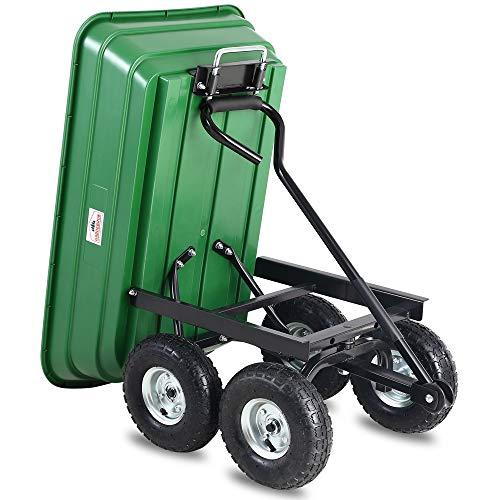 Deuba® Gartenkarre aus Kunststoff | Kippfunktion | Lenkachse | Luftreifen – Transportwagen Bollerwagen Muldenkipper Kippwagen Transportkarre Gartenwagen - 6
