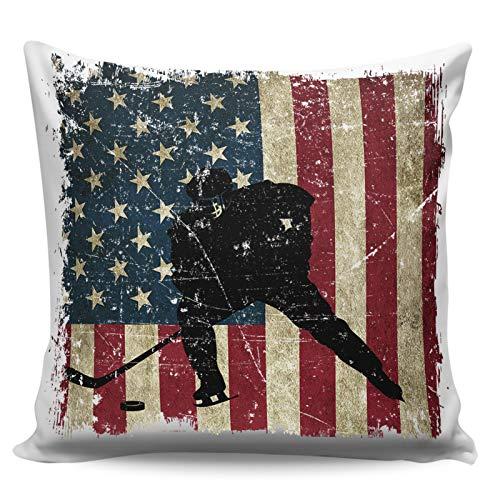 Winter Rangers - Federa decorativa per cuscino per divano e letto, motivo: bandiera americana retrò retrò stile hockey