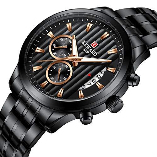 CXJC Reloj de negocios multifuncional de calendario luminoso impermeable, reloj deportivo de hombre de acero inoxidable, marcación redonda de 44 mm (tamaño : C)